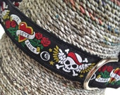 Motorcycle Dog Collar, Black Dog Collar, Large Pet Collar, Skull and Crossbones, Male Dog