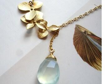 Aqua chalcedony orchid gold necklace, aqua chalcedony pendant gold necklace, aqua chalcedony lariat necklace, seafoam chalcedony, handmade