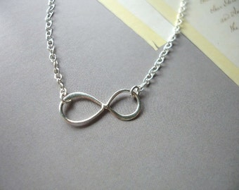 Infinity sterling silver necklace, eternity sterling silver necklace, figure 8 sterling silver necklace, forever silver necklace, handmade