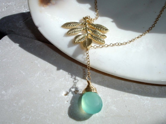 SALE - 10 PERCENT OFF - Aqua chalcedony and golden fern necklace