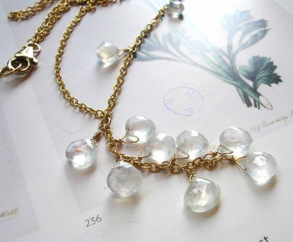 Moonstone gold fill dangle necklace