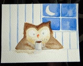 Works the Night Shift - owl with coffee watercolor, kitchen art, sleepy owl, kitchen, tea, morning, whimsical, small art, blue, face stubble