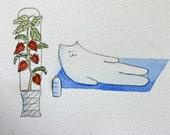Feng Shui Cat - Original Watercolor, small art, Cat doing yoga, exercising, meditation, humorous, simple, whimsical