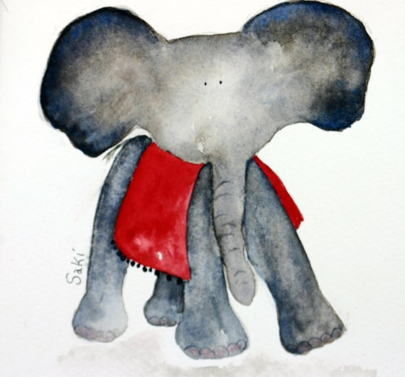 Saki - baby elephant with red blanket - original watercolor, grey elephant, whimsical, elephant ears