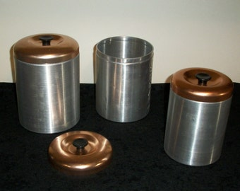 Vintage Kitchen Canister Set Brushed Aluminum and Copper Made in Italy