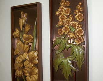 Vintage Wall Plaques Pair of Floral Wall Hangings Syroco Style