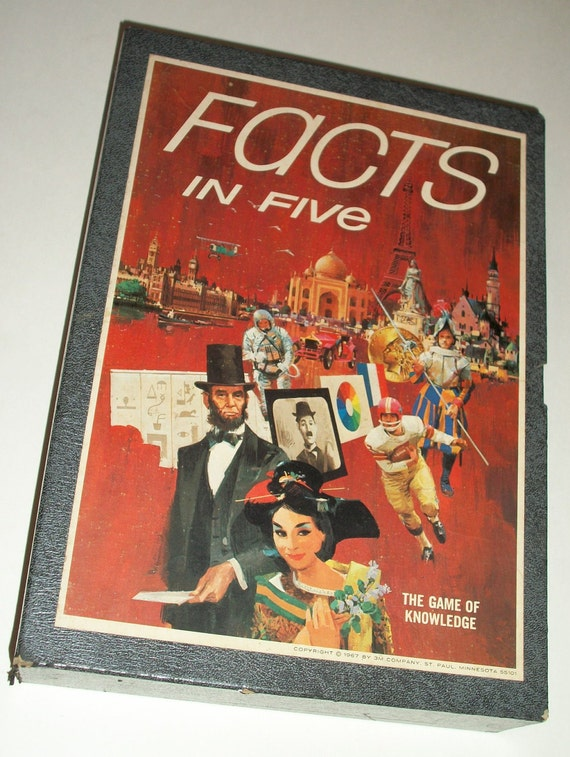 Facts in Five 3M Bookshelf Game - Complete Vintage 1960s Game of Knowledge
