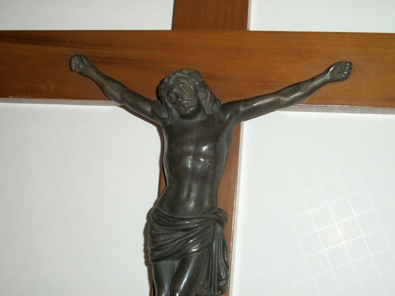 Large Crucifix Vintage Wall Mounted Wooden Cross and Metal Jesus