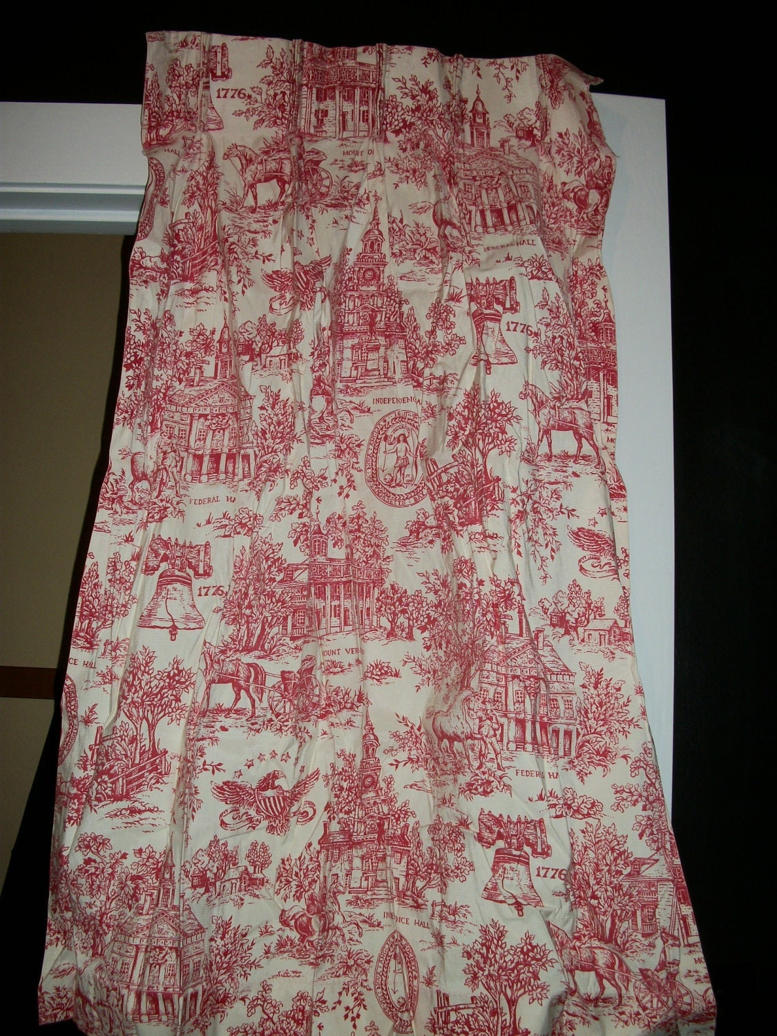 Vintage Curtains Red Toile Lined Pleated Bicentennial Or