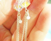 Deco, Swarovski Crystal Cube Dangle Earring