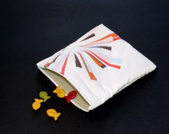 Reusable Sandwich Bag. Recycled Fabric.  Go green, eco friendly.  Lunch sack.  Nylon lined.