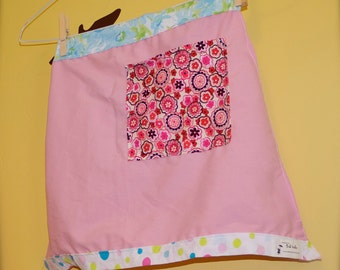 Child size apron.  Bubble Gum Girl Upcycled Child-Size Half Apron. Ready to Ship. Child size, kitchen, apron, recycled, eco friendly, pink