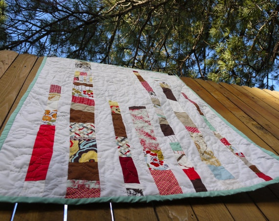 Baby Quilt crib quilt recycled fabrics.  Unisex. Bar Graph.  Custom Made and hand quilted. OOAK.  Ready to Ship.