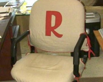 Office chair slipcover with optional  monogram