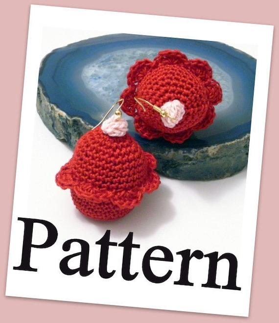 Crochet cupcake earrings PDF pattern Instant download