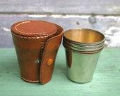 4 Metal Shot Glasses in Leather Case