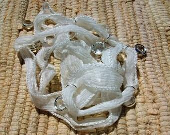 Seven Swarovski Crystal Charms White Silk Wrap Bracelet-Sale was 40