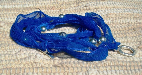Royal Blue Silk Wrap Sterling Silver Beads and Toggle Bracelet Sale was 35