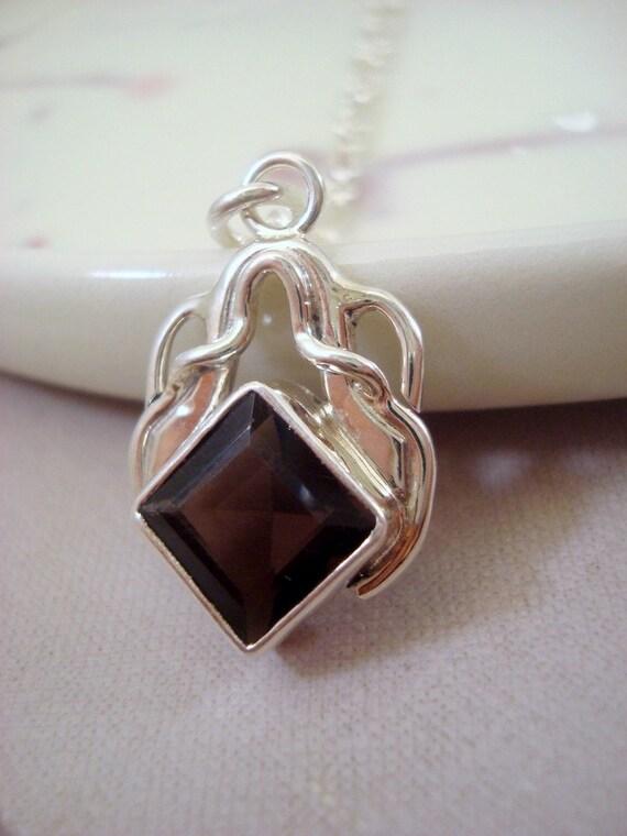 Smokey Quartz sterling silver pendant