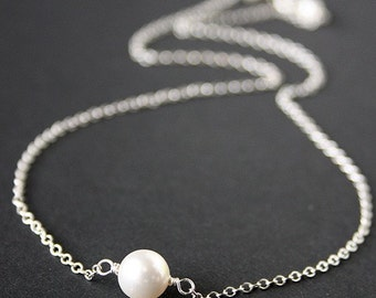 Elegant Single freshwater pearl Necklace - sterling silver , Wedding jewelry , birthday Christmas gifts , Mother's Day Gift , for Wife
