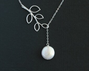 Lariat pearl necklace, branch leaf, Sterling Silver chain - wedding bridal jewelry, bridesmaids gifts favor, birthday gifts