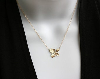 Single Orchid Necklace - Gold Filled/ Sterling Silver simple flower necklace, wedding bridal jewelry, bridesmaid gifts, Mothers day gifts