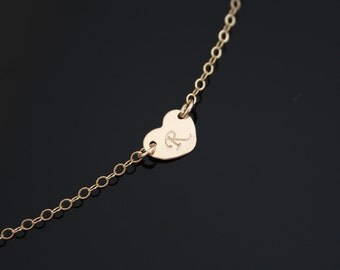 Initial heart necklace 14K GOLD Filled - Valentine  gift ,for her ,  bridesmaids gifts,for love, anniversary gift, for mom daughter sister