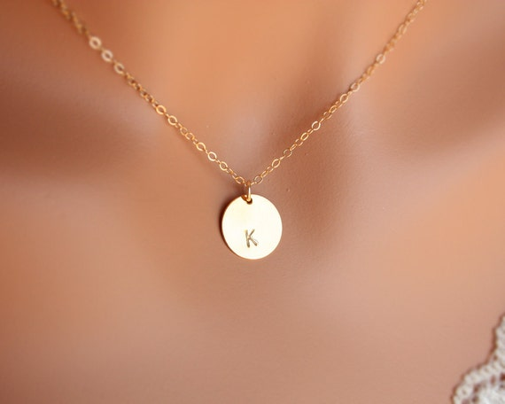 Single disc initial necklace - 14K Gold Filled chain, mothers day gifts, gift for sister mom