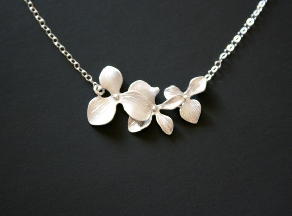 Triple Orchid Necklace - Sterling Silver wedding bridal jewelry, brides bridesmaid gift, flower girl necklace
