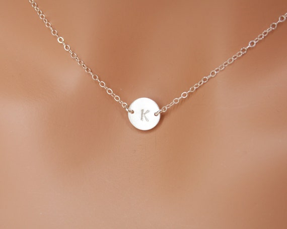 Initial Disc necklace - All Sterling Silver, engraved necklace, sideways disc, simple everyday wear , perfect gift , birthday , mother's day
