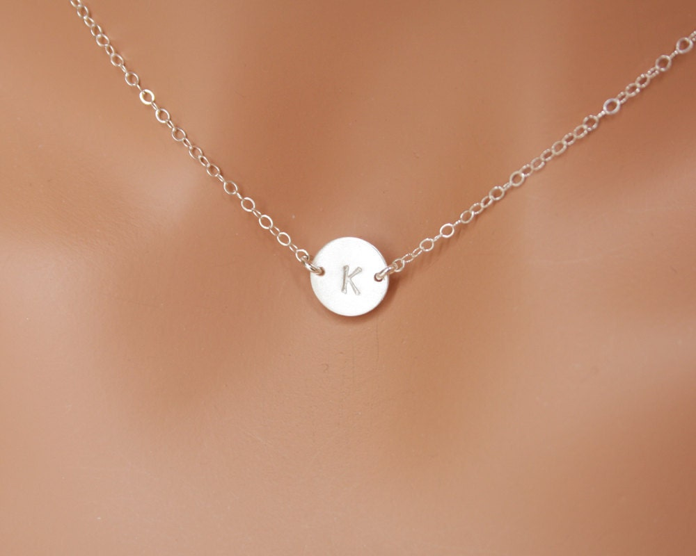 Initial Disc Necklace All Sterling Silver Engraved By