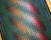 Cotton Throw Rug 3 x 5 in Green, Rust, Raspberry