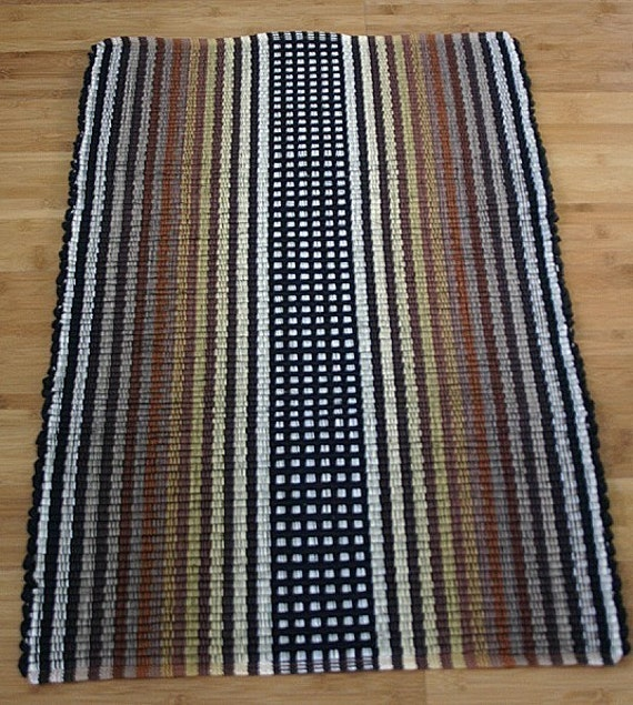 Machine Washable Cotton Rag Rug 2' X 3' In Black