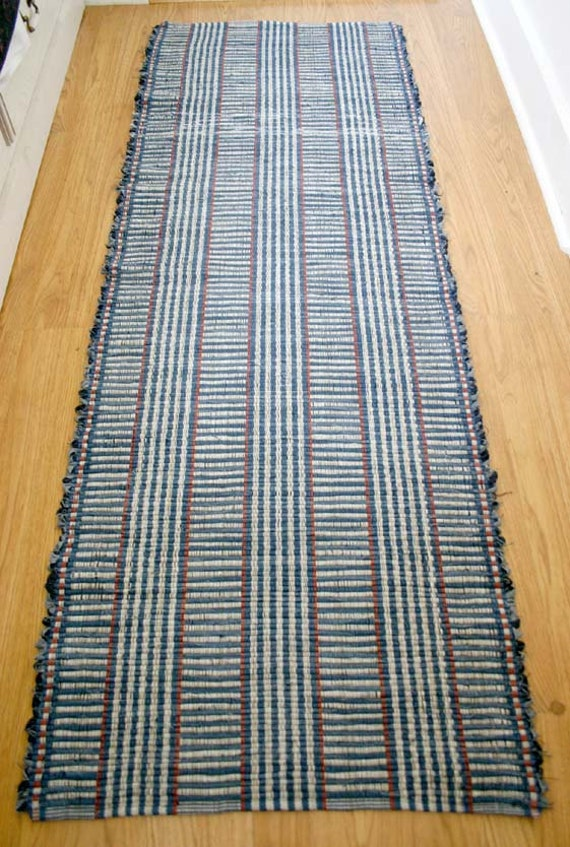 High Quality Hand Made Cotton Rag Rug Runner In Denim And Neutral 2 X 6