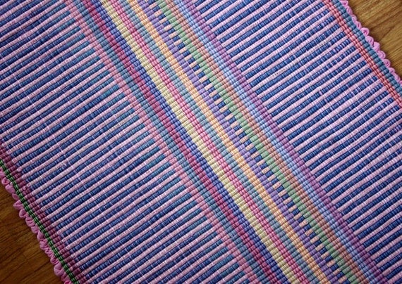Hand Woven Cotton  Rug Pink and Blue 2 x 4