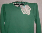Reworked Reconstructed Upcycled  Sweat shirt with crochet  ladys large Hanes Ecosmart