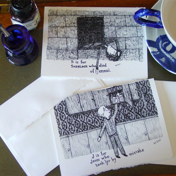 Sherlock Holmes and John Watson - Handmade Cards in the Style of Edward Gorey