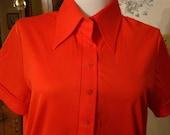 Bright Orange Polyester Short Sleeved Shirt
