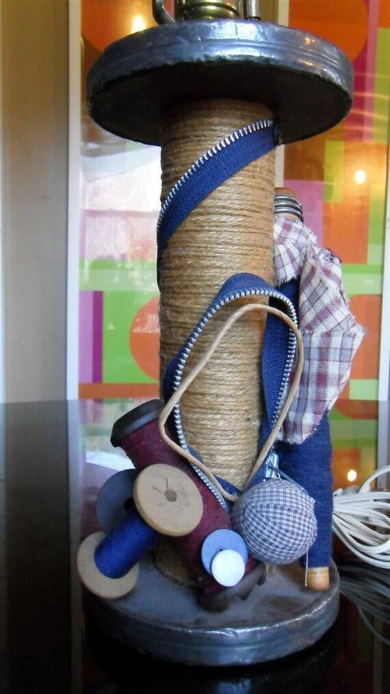 Ultimate Sewing Room Lamp made of Industrial Bobbins