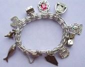 Vintage 1970s Charm Bracelet Sterling Silver