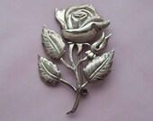 Large Rose Sterling Silver Brooch Lang