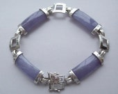 Sterling Silver and Lavender Purple Stone Bracelet Chinese