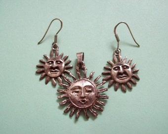Smiling Sun Sterling Earrings Pendant Set Silver