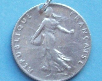 1910s Art Nouveau French  50 Centimes Silver Coin Charm