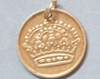 Silver Coin Charm Swedish Crown - 10 ore 1950s