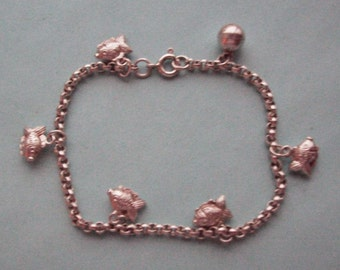 Fishes Charm Bracelet Sterling Silver