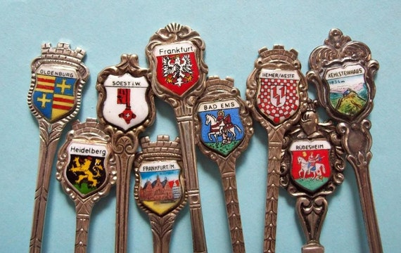 9x 800 Silver Souvenir Spoons Collection Germany 1960s