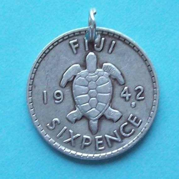 Silver Coin Charm Sixpence Sterling Silver Fijian