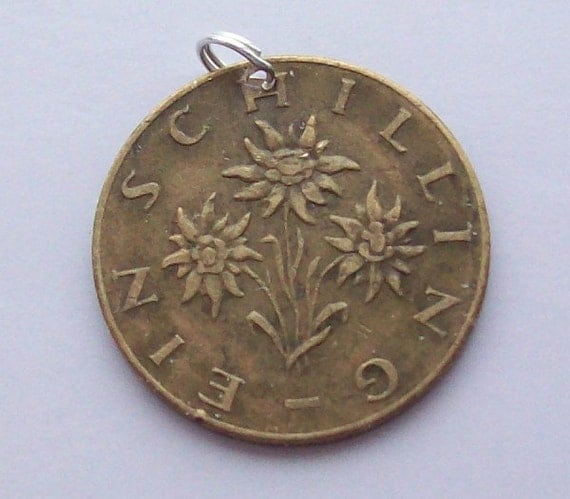 Edelweiss Austrian Coin Pendant with Sterling Silver Bale
