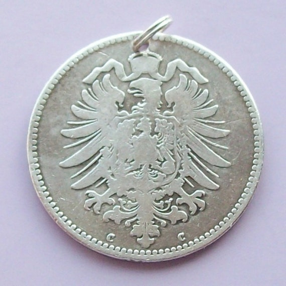 Germany 1870s-1910s Silver One Mark Coin Charm